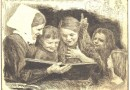 Bruno Heroux – Children Reading a Fairy Tale – Orig. Etching Circa 1900