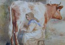 Helena Maguire (Sold) Farmer's Daughter Milking a Cow