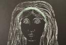 Federico Righi – Elegant Mid-Century Modern Portrait of a Woman – Original Lithograph