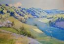 Christian Baumgartner – Spring Landscape – Aare River – Watercolor