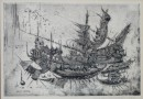 Luigi Crippa – Chinese Junk in a Harbor (Sold)