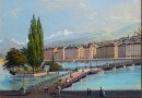 Vue of Geneva from the Hotel des Bergues – Antique Print (Sold)