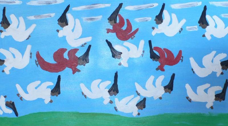 Clementine Hunter Black Flying Angels Sold Village