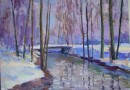Ernst Bruppacher – Winter Landscape with River and Bridge (Sold)