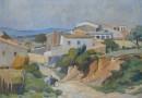 Fritz Ryser – Oil on Canvas Dated 1955 – A Village on the Costa Brava