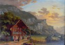 Animated Scene with Chalet at the Reichenbach Falls (SOLD)