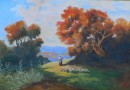 Watercolor – Autumn Scene with Shepherdess and her Flock