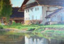 Barn by a River – Adolphe Potter – Oil on Wood