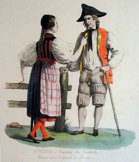 Traditional Costumes of Zurich – 19th Century Engraving