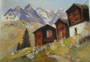 Emil Brehm – Mazots in the Valais – Oil (Sold)