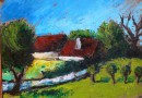 Country Landscape with Red Roofed Farmhouses – Expressionist Style (Sold)