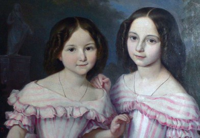 Exquisite Biedermeier Portrait of Two Sisters