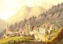 Simplon Village, Sempione, Antique Lithograph