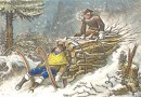 Lumberjacks in a Blizzard – Winter Scene – Antique Lithograph