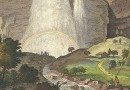 The Staubbach Waterfall in Lauterbrunnen Valley –  Antique Engraving