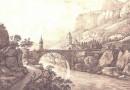 Antique Engraving – Bridge Near St. Maurice Switzerland