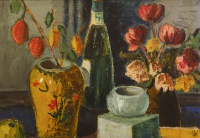 Adolf Mathys – Still Life with Wine Bottle, Vase and Flowers
