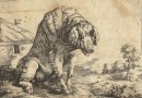 Antique Engraving of an Old Sow in the Countryside