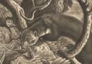 Mezzotint Engraving – Thomann von Hagelstein – Pine Martin attacks Bird's Nest