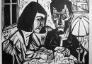 Hermann Scherer – Couple at a Table – Woodcut