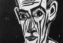 Hermann Scherer – Portait of a Man Holding a Pen – Woodcut