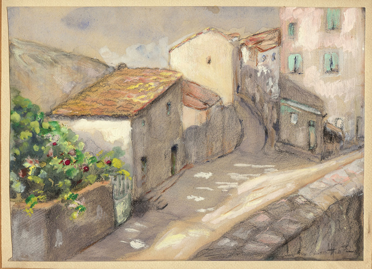 Sunny Street Scene In Southern Europe Unsigned