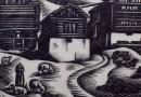 """Aldo Patocchi – Original Woodblock Print – """"Windy Morning"""" – Mattino di Vento"""