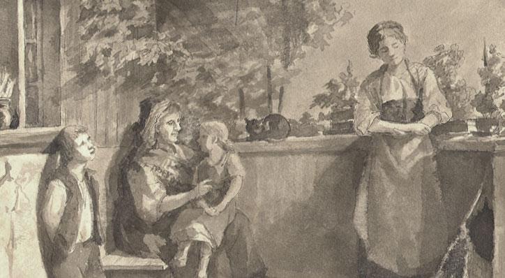 77e953c6d Swiss Farm Family – Charming 19th Century Watercolor by Caecilia Schumacher  – Village Antiques
