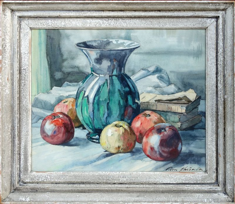 Pierre Chatillon - Green Vase and Apples