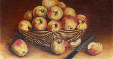 Apples - Folk Art Painting Signed Lasbille