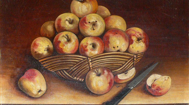 Apples - Folk Art Painting Signed Lasbille