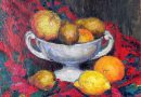 Still Life Circa 1900, Apples, Lemons and Oranges in a White Bowl (Sold)