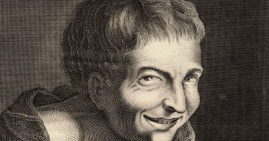 French Caricature of the Philosopher Democritus Laughing