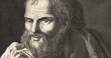 Antique Engraving After Bernard Picart – Heraclitus The Weeping Philosopher