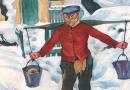 Expressionist Winter Scene in Grodno signed J. Lipchitz