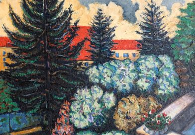 Garden on Flobotstrasse Zurich – Large Colorful Expressionist Oil dated 1952