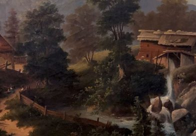 Traditional 19th Century Swiss Landscape with Old Mill and Alpine Scenes