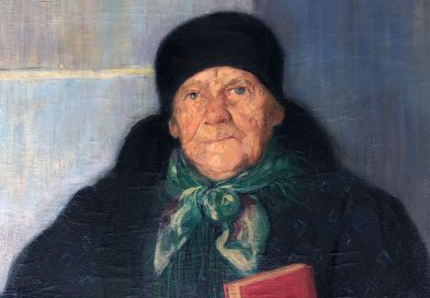 Swiss Portrait of an Elderly Woman in a Church Doorway with Rosary and Hymnal