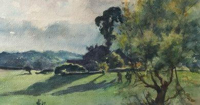 Summer Landscape with Figures in a Field Watercolor