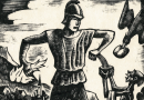 Mighty Saint Florian – Woodblock Print by Fritz Urban Welti