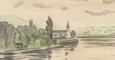 Alexander Müllegg – Church by a Lake Original Watercolor