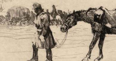 Oswald Roux – Original WWI Etching – The Sick Horse